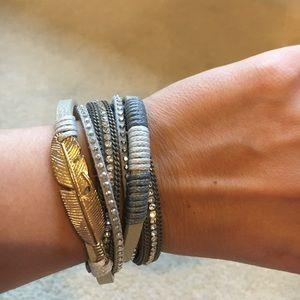 Jewelry - 3 for $25 Grey Gold Feather Wrap bracelet